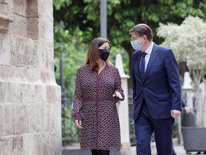 El president de la Generalitat, Ximo Puig, y la presidenta de Baleares, Francina Armengol, este miércoles en Valencia.