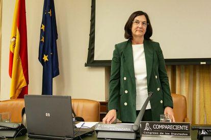 La candidata del Gobierno para presidir la CNMC, Cani Fernández, a su llegada a la Comisión de Asuntos Económicos del Congreso, este jueves.