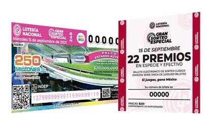 """Boleto de la rifa """"Gran sorteo especial 248"""" que se llevará a cabo el 15 de septiembre a través de la Lotería Nacional."""
