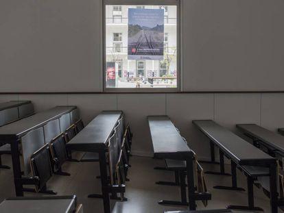 Un aula vacía en el campus de la Ciutadela de la UPF, este jueves.