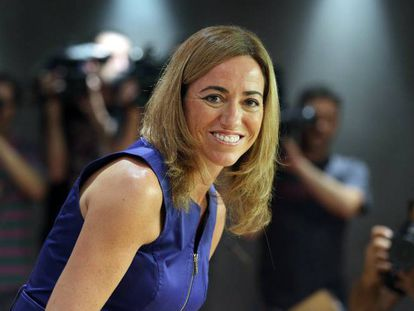 La exministra de Defensa Carme Chacón en el Congreso de los Diputados en 2013.