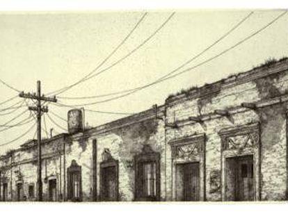 Grabado de Pepe Hérnandez de la casa de Juan Rulfo, en Guadalajara (México).