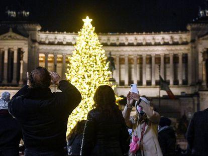 Inauguración en Roma del árbol de Navidad el Ayuntamiento el pasado martes.
