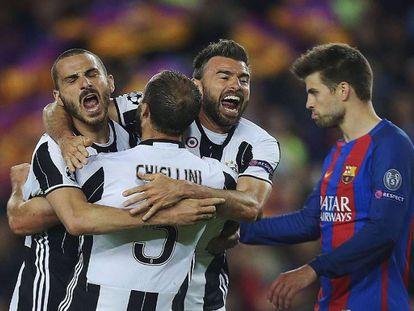 FOTO: Los jugadores de la Juve celebran su clasificación en presencia de Piqué. / VÍDEO: Declaraciones de Luis Enrique tras el partido.
