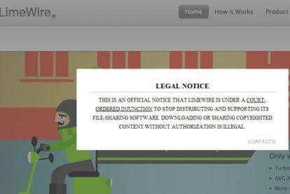 Portada de LimeWire donde informa de la orden de clausura.
