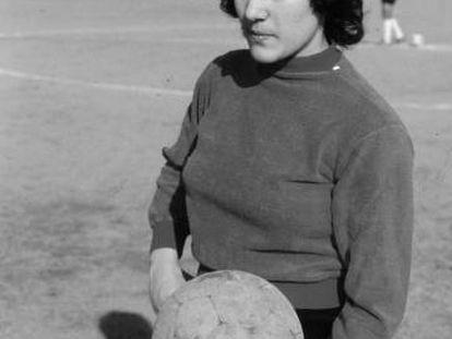 Conchi Amancio, antes de un partido en 1974.