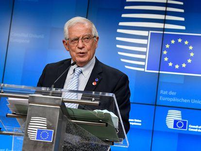 El jefe de la diplomacia europea, Josep Borrell, tras el Consejo de ministros de Defensa este jueves, en Bruselas.