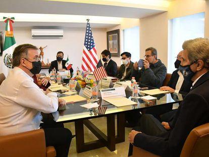 John Kerry, durante su reunión con autoridades mexicanas.