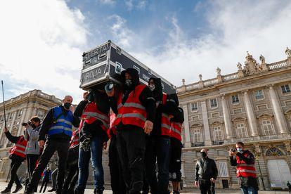Protesta del sector de los espectáculos y eventos en Madrid.