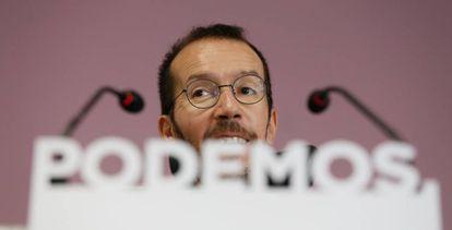 Pablo Echenique, este lunes tras la ejecutiva de Podemos.