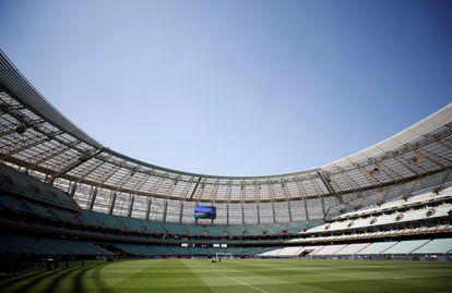 El interior del estadio de Bakú, Azerbaiyán.