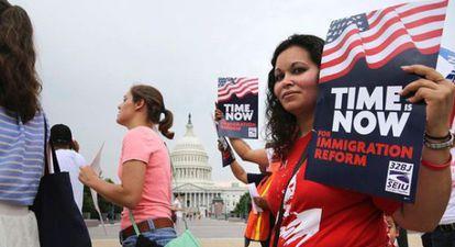 Protesta por reforma migratoria ante el Capitolio en Washington, EE UU