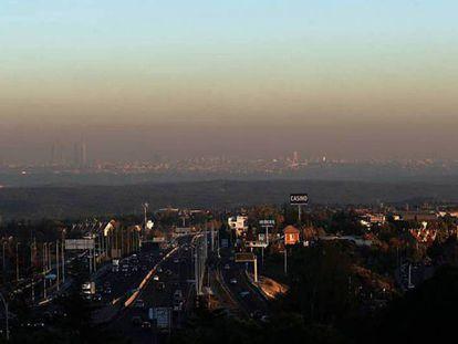 La boina de contaminación de Madrid.