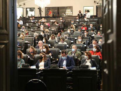 En la imagen, la parte del Senado donde más contagios de coronavirus hubo en la sesión del 20 de octubre de 2020.