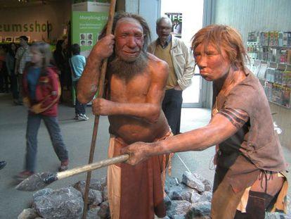 Reconstrucción de dos hombres de Neanderthal en el museo dedicado a esta especie en Dusseldorf, Alemania