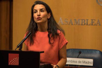 Monasterio, tras la reunión con el presidente de la Asamblea de Madrid el 9 de julio, dentro de la ronda de contactos con los grupos parlamentarios para proponer un candidato a presidir la Comunidad.
