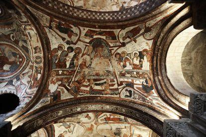 Fresco de la Última Cena en el Panteón de los Reyes de la Colegiata de San Isidoro, en León.