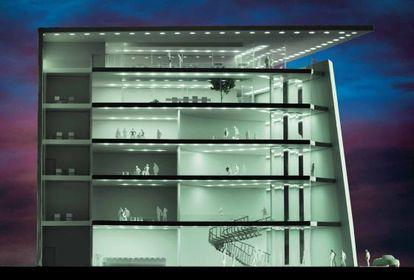 Aspecto interior que tendría el proyectado Museo de las Artes, la Arquitectuira, el Diseño y el Urbanismo, en Madrid.