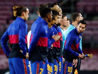 Messi y sus compañeros antes del duelo del pasado miércoles contra el Dinamo de Kiev.