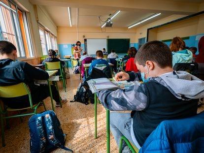 Clase de un instituto público en Aragón.