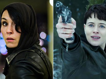 Noomi Rapace (izquierda) y Claire Foy (derecha), como Lisbeth Salander en sus respectivas películas.
