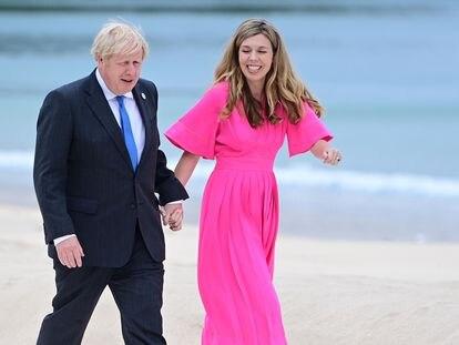 Boris Johnson y Carrie Symonds durante la cumpre del G7 el pasado junio. (Reino Unido) EFE/EPA/NEIL HALL / POOL