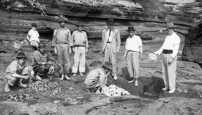 Un grupo de personas despluma y destripa pardelas para cocinarlas posteriormente en Alegranza en los años 60 del siglo XX.