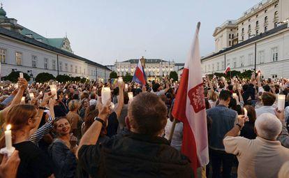 Manifestación en Varsovia contra el Gobierno populista polaco.