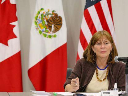 La secretaria de Economía de México, Tatiana Clouthier, durante una reunión virtual, en Ciudad de México.