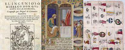De izquierda a derecha, primera edición de <i>El Quijote</i> (1605), <i>Catecismo</i> de Pedro de Gante (siglo XVI) y el <i>Libro de Horas de Carlos VIII</i> (1494)