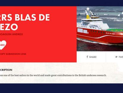Presentación de la candidatura de Blas de Lezo para bautizar al buque de investigación británico.