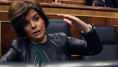 La vicepresidenta del Gobierno, Soraya Sáenz de Santamaría, en el Congreso.