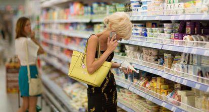Una rusa en un supermercado de productos importados.