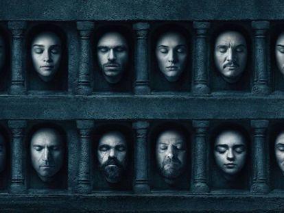 Máscaras con el rostro de los protagonistas de la serie de HBO.