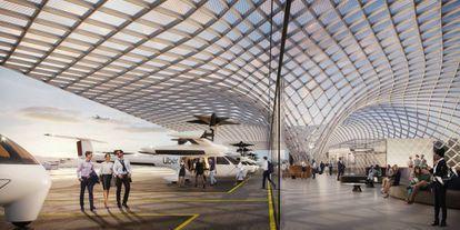 """Proyecto de """"puerto del cielo"""" para cinco coches voladores en Santa Clara para la región de San Francisco."""