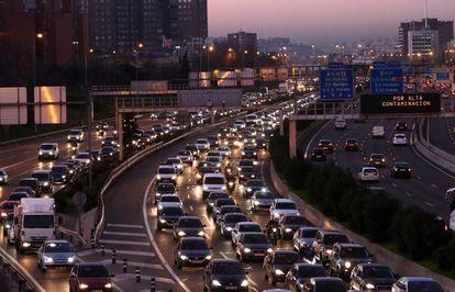 Congestión de tráfico en Madrid.