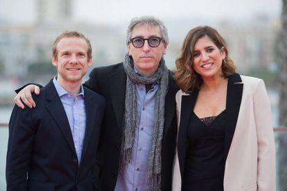 Fernando Ramallo, David Trueba y Lucía Jiménez, en la presentación en Málaga de 'Casi 40'.