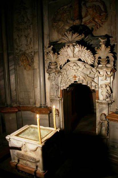 Interior de la Tumba de Jesucristo.