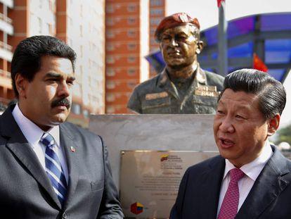 Nicolás Maduro y el presidente chino, Xi Jinping, frente a un busto de Hugo Chávez en 2014.
