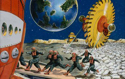 Astronautas huyendo de un planeta (Anton Brzezinski)