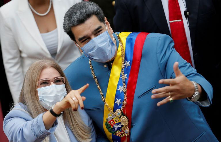 The president of Venezuela, Nicolás Maduro, and his wife, Cilia Flores, on January 12.