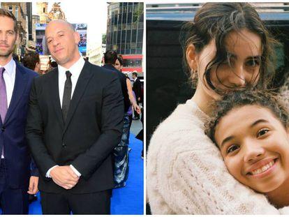 Los actores Paul Walker y Vin Diesel, en 2013, y a la derecha, sus hijas.