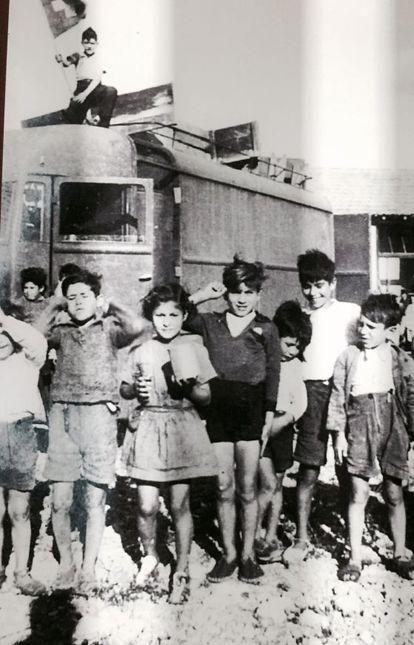 Foto de españoles expuesta en el memorial de Rivesaltes.