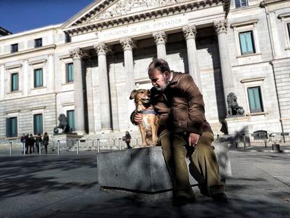 Un perro pasea con su dueño ante el Congreso de los Diputados.