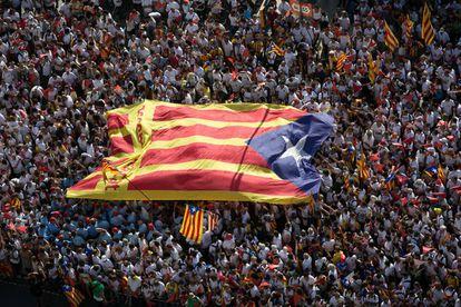 Una bandera estelada, en la manifestación de 2015
