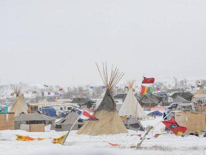 El campamento de protesta cerca de la reserva Standing Rock, el pasado martes
