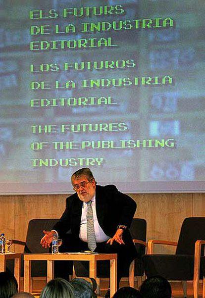 José Manuel Lara ayer en el simposio sobre el futuro de la industria editorial.