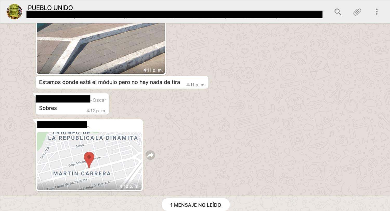Una captura de WhatsApp de grupos que incitan al saqueo en México.