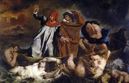 Virgilio guía a Dante por el infierno en 'La barca de Dante', de Eugene Delacroix (1822)