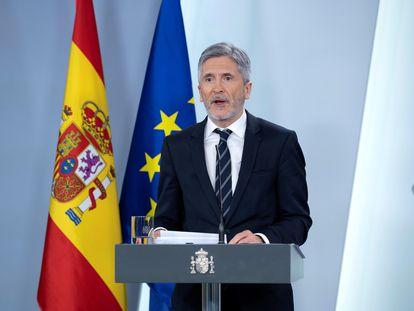 El ministro del Interior, Fernando Grande-Marlaska, durante una rueda de prensa telemática este jueves en Madrid.
